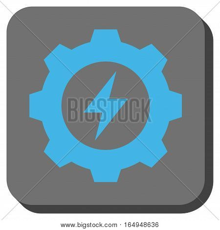 Electric Energy Gear interface toolbar button. Vector pictogram style is a flat symbol on a rounded square button blue and gray colors.