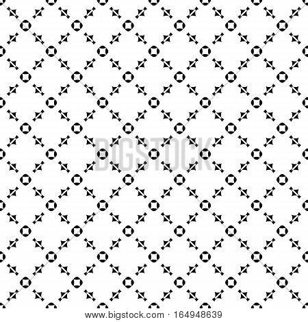 Vector seamless pattern, repeat monochrome geometric background. Black & white figures, simple ornamental texture. Illustration of diagonal lattice, stitches, thread. Design element for tileable print