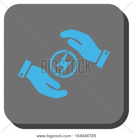 Electric Energy Insurance Hands interface button. Vector pictograph style is a flat symbol centered in a rounded square button blue and gray colors.