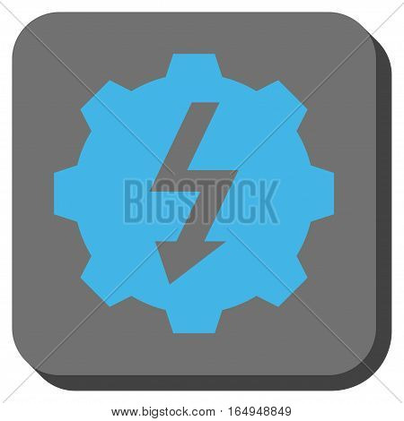 Electric Gear toolbar button. Vector pictograph style is a flat symbol on a rounded square button blue and gray colors.