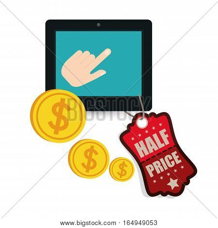 big sale online technology half price coins vector illustration eps 10