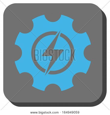 Electric Power Cog Gear toolbar button. Vector pictogram style is a flat symbol inside a rounded square button blue and gray colors.
