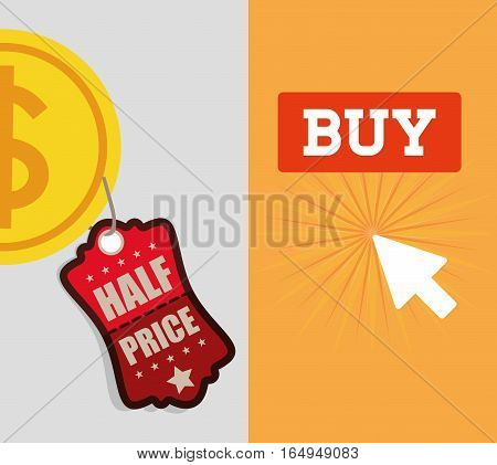 buy online half price coin banner vector illustration eps 10