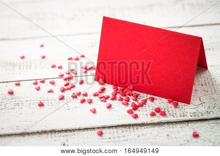 Valentines day background. Postcard confession of love. Red greeting card.