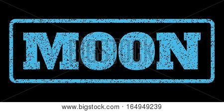Light Blue rubber seal stamp with Moon text. Vector tag inside rounded rectangular frame. Grunge design and scratched texture for watermark labels. Horisontal emblem on a black background.