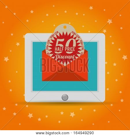 half price discount online marketing vector illustration eps 10