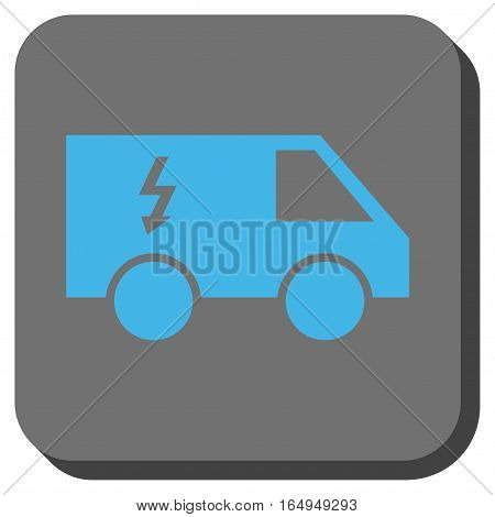 Electrical Car interface toolbar button. Vector pictograph style is a flat symbol in a rounded square button blue and gray colors.