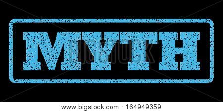 Light Blue rubber seal stamp with Myth text. Vector message inside rounded rectangular shape. Grunge design and dust texture for watermark labels. Horisontal sticker on a black background.