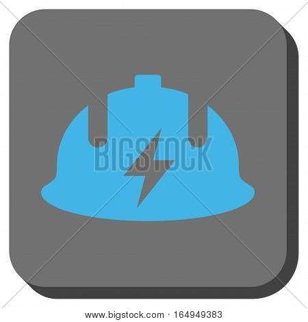Electrician Helmet square icon. Vector pictograph style is a flat symbol in a rounded square button blue and gray colors.