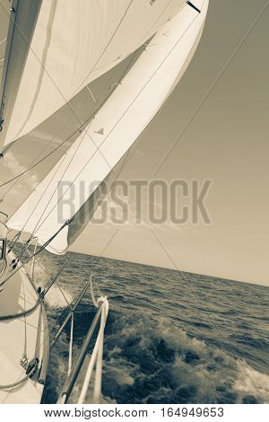 Yachting Yacht Sailboat Sailing In Sea Ocean