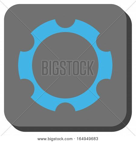 Gear Wheel interface button. Vector pictograph style is a flat symbol inside a rounded square button blue and gray colors.
