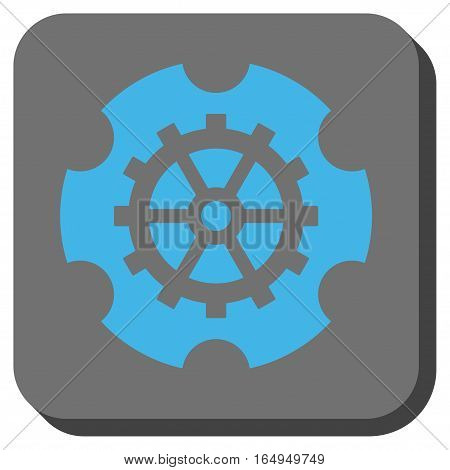 Gearwheel interface toolbar icon. Vector pictograph style is a flat symbol inside a rounded square button blue and gray colors.