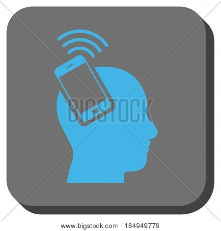 Head Smartphone Plugin Ring toolbar icon. Vector pictograph style is a flat symbol in a rounded square button blue and gray colors.