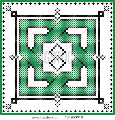 Celtic  endless knot in square shape in black and green cross stitch pattern on white and black background inspired by Irish St Patrick's day and ancient Scottish culture
