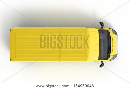 3D Render Yellow Delivery Van Top Icon