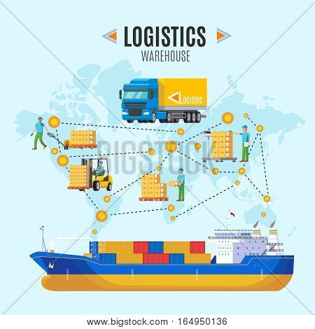Logistic warehouse concept with processes of preparing cargo for loading and delivering to customer vector illustration