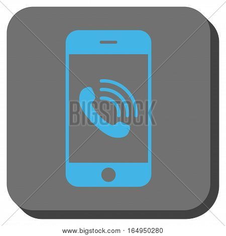 Smartphone Call interface toolbar icon. Vector pictogram style is a flat symbol in a rounded square button blue and gray colors.