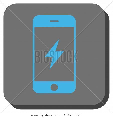 Smartphone Electricity interface toolbar button. Vector pictograph style is a flat symbol centered in a rounded square button blue and gray colors.