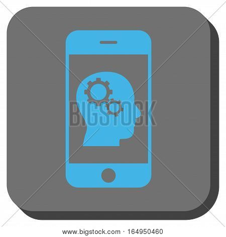 Smartphone Intellect Gears interface toolbar button. Vector pictograph style is a flat symbol on a rounded square button blue and gray colors.