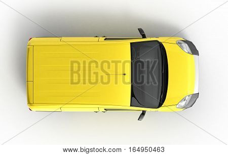 Yellow Delivery Car In Top On A White Background 3D Illustration