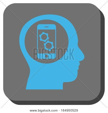 Smartphone Mind Control square icon. Vector pictogram style is a flat symbol in a rounded square button blue and gray colors.