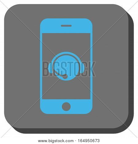 Smartphone Operator Contact Head rounded icon. Vector pictograph style is a flat symbol on a rounded square button blue and gray colors.