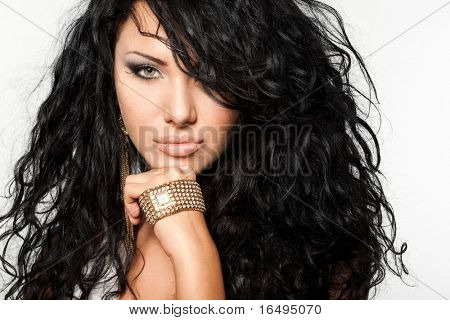 elegant fashionable woman with watch