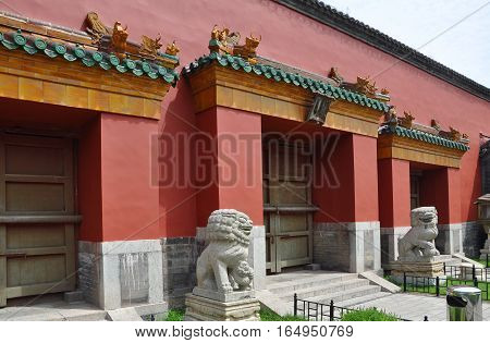 Houzai Gate of Shenyang Imperial Palace (Mukden Palace), Shenyang, Liaoning Province, China. Houzai Gate is the back gate of the palace. Shenyang Imperial Palace is UNESCO world heritage site built in 400 years ago.