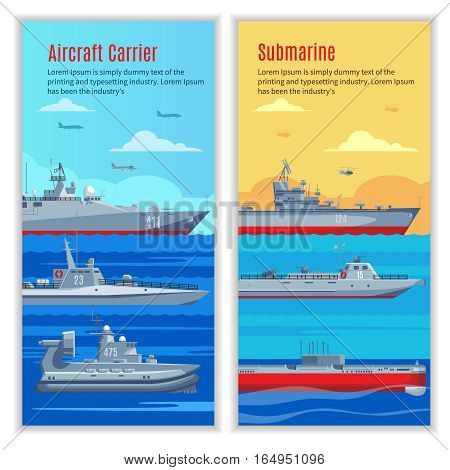Military ships vertical banners with combat naval boats of different types and construction vector illustration