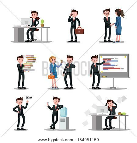 Office people collection with workers in different situations and processes at job isolated vector illustration