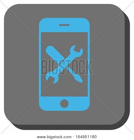 Smartphone Tools rounded button. Vector pictogram style is a flat symbol in a rounded square button blue and gray colors.