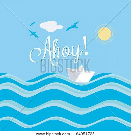 Paper Boat Ahoy Water Sun Summer Sailing Illustration