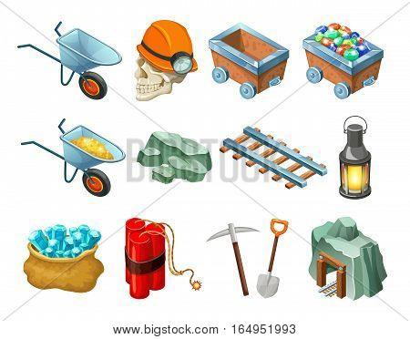 Mining game isometric elements collection with cart trolley gemstones minerals railway lantern dynamite showel pick isolated vector illustration