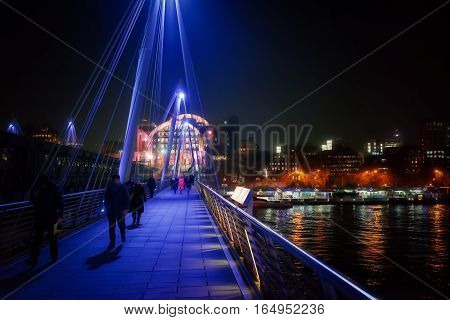 The Hungerford footbridge over the River Thames in central London