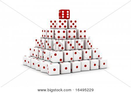 3D pyramid built of dice with numbers increasing