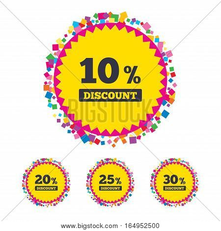 Web buttons with confetti pieces. Sale discount icons. Special offer price signs. 10, 20, 25 and 30 percent off reduction symbols. Bright stylish design. Vector