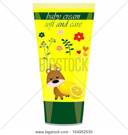 High quality original trendy vector Baby cream tube with kids design and deer illustration