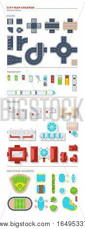 City map creator of top view elements grouped by roads transport buildings and additional objects vector illustration