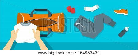 Fitness flat vector background. Man puts stuff for gym physical training into sport bag. Top view horizontal banner. Workout clothes and shoes water bottle. Healthy lifestyle concept. Simple design
