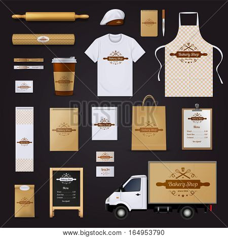 Modern authentic bakery shop corporate identity menu and price list template design black background realistic vector illustration