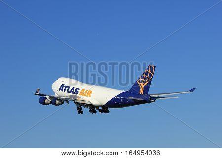 Amsterdam the Netherlands - August 18th 2016: N496MC Atlas Air Boeing 747-47UF taking off from Polderbaan Runway Amsterdam Airport Schiphol