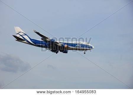 Amsterdam Schiphol Airport - April 1st 2016: VQ-BHE AirBridgeCargo Boeing 747 approaching Polderbaan runway