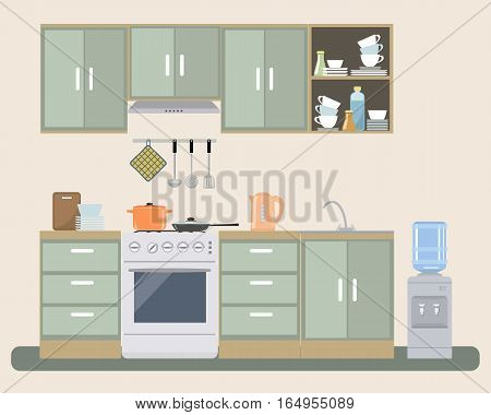 Kitchen in provence color. There is a furniture, a stove, a water cooler and other objects in the picture. Vector flat illustration.