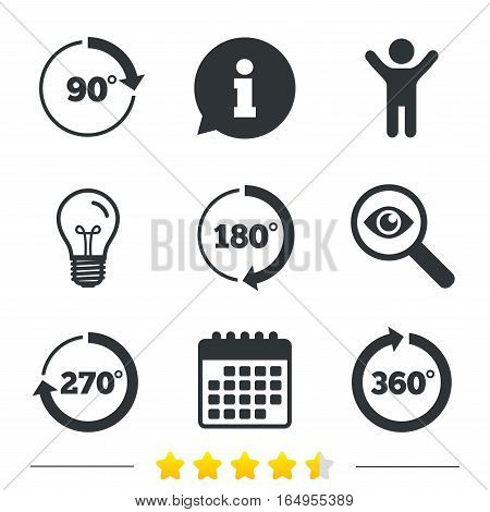 Angle 45-360 degrees circle icons. Geometry math signs symbols. Full complete rotation arrow. Information, light bulb and calendar icons. Investigate magnifier. Vector