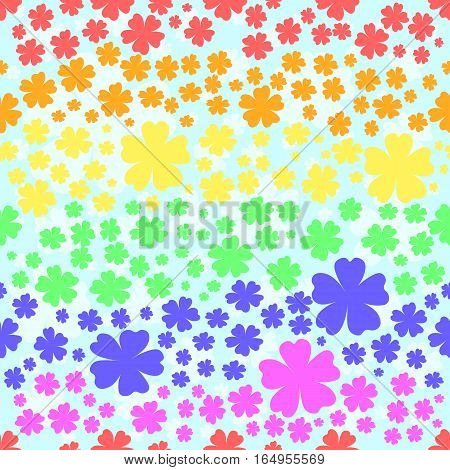 Seamless pattern with flowers colored in colors of Rainbow flag