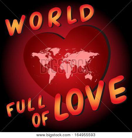 World full of love. Worldmap into the heart.