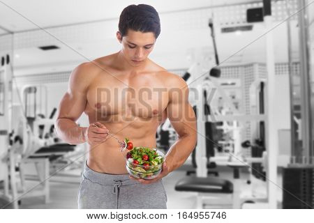 Eating Food Salad Bodybuilding Bodybuilder Fitness Gym Body Builder Building Muscles Young Man
