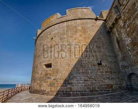 View from the bottom of a tower, the Saint-Malo's castle, Bretagne, France