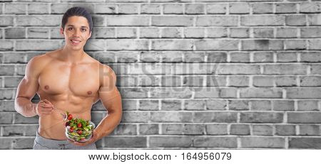 Eating Food Salad Bodybuilding Bodybuilder Copyspace Body Builder Building Muscles Muscular Young Ma