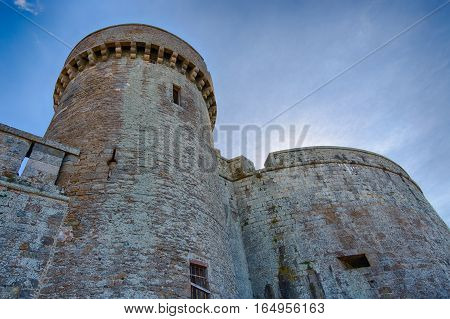 View from the bottom of a towers, the Saint-Malo's castle, Bretagne, France